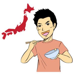 ご当地グルメを食べる男性イラスト