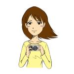 ミラーレス一眼カメラを持つ女性イラスト