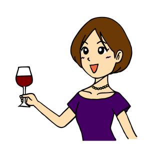 ワインを片手に喜ぶ女性お祝いイラスト