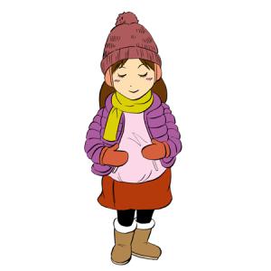 暖かい格好の妊婦さんイラスト