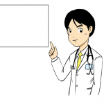 ホワイトボードで説明する医者イラスト