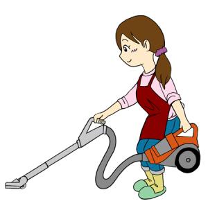 掃除機をかける女性イラスト
