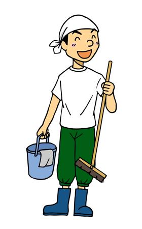 掃除をする男性イラスト