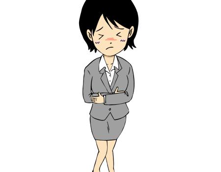 お腹が痛い女性イラスト腹痛