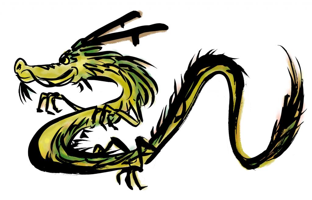 龍横向きの墨絵イラスト