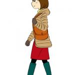 ダウンコートと長靴姿の女性イラスト
