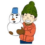 雪だるま作った子供イラスト