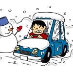 雪道でノロノロ運転イラスト