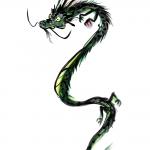 昇り上がる龍の墨絵イラスト無料