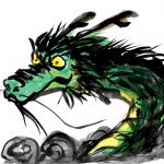 迫力のある墨絵の龍ドラゴンイラスト