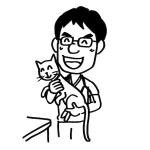 笑顔の動物病院獣医師先生線画