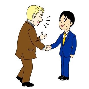 外国人と英会話で戸惑う日本人イラスト