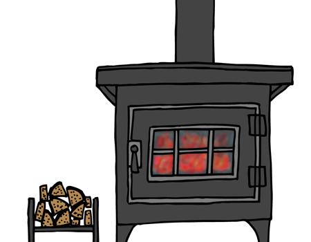 メラメラと燃える薪ストーブイラスト