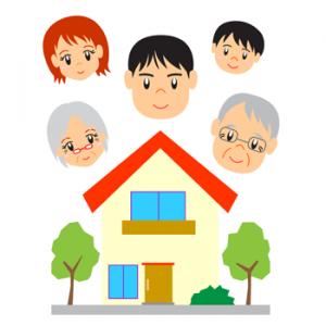 5人家族のマイホームイラスト