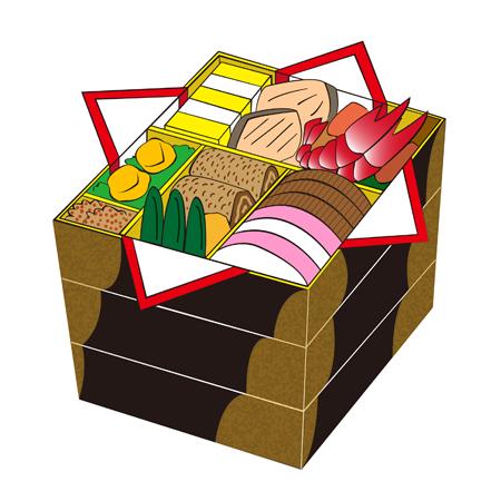 おせち料理三段重イラスト