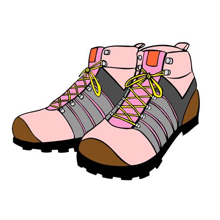 女性用登山靴トレッキングブーツイラスト