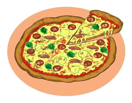 手作りピザイラストpizza