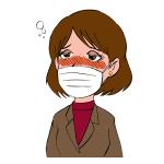 マスクをしている女性イラスト