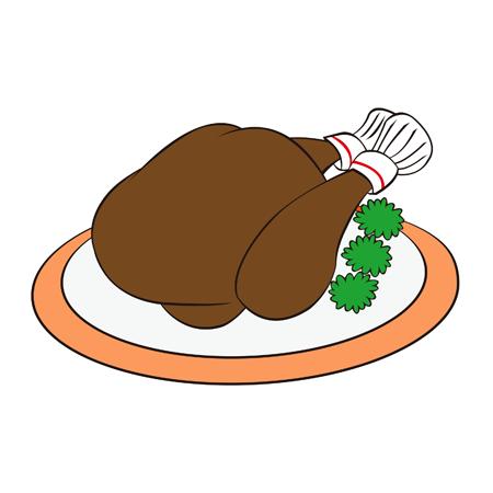 鶏肉ローストチキンイラスト