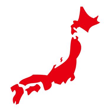 無料日本地図イラスト無料赤色