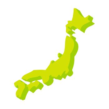 日本地図3D無料イラスト