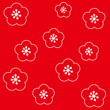梅模様の背景無料イラスト2