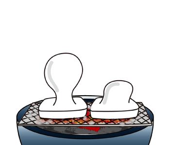 火鉢と焼き餅イラスト無料