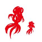 金魚2匹墨絵イラスト