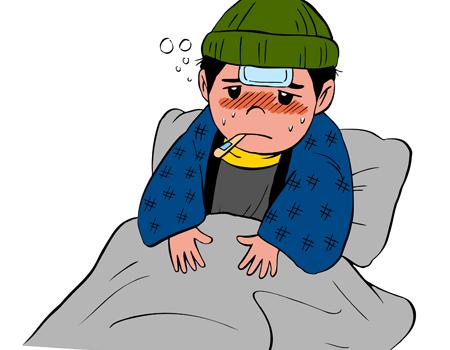 風邪をひいて寝込む男性イラスト