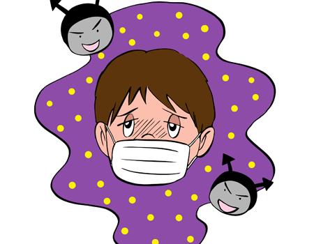 風邪でマスクをしている子ども