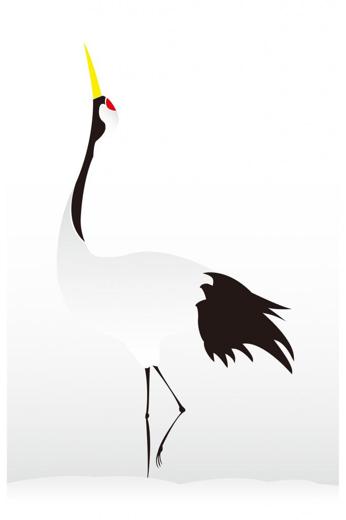 雪の上を歩く鶴イラスト