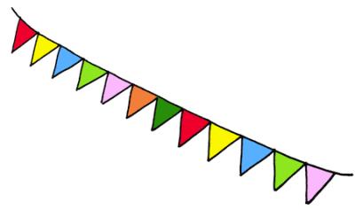 手描きの三角旗フラッグイラスト