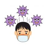 インフルエンザで風邪をひく男性イラスト