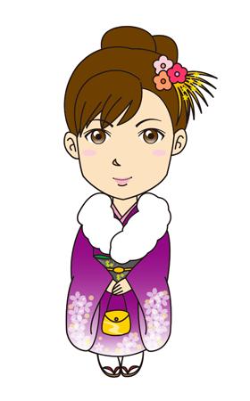 成人式女性振袖着物紫