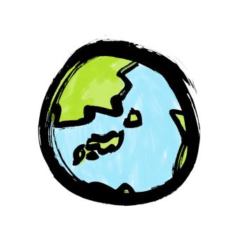 地球墨絵イラスト