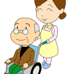 車椅子のお爺さんと介護士イラスト