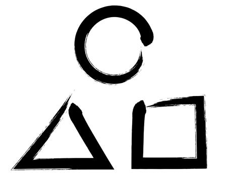 墨文字記号丸三角四角イラスト印