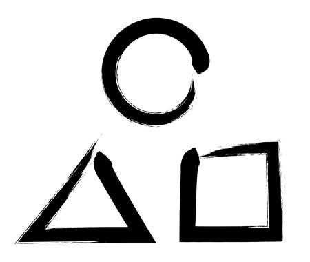 墨文字記号丸三角四角