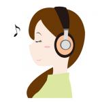 ヘッドホンで音楽を聞く女性無料イラスト