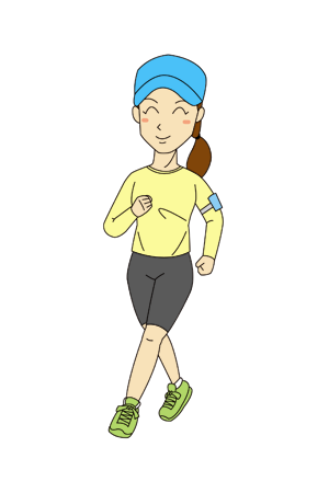 ランニング女性マラソンランナーイラスト