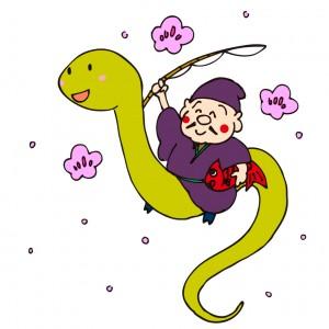 無料年賀状素材ヘビと恵比寿様イラスト