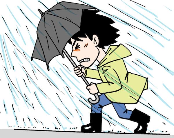 ゲリラ雷雨台風で傘で踏ん張る男性イラスト