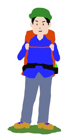 登山をする若い男性
