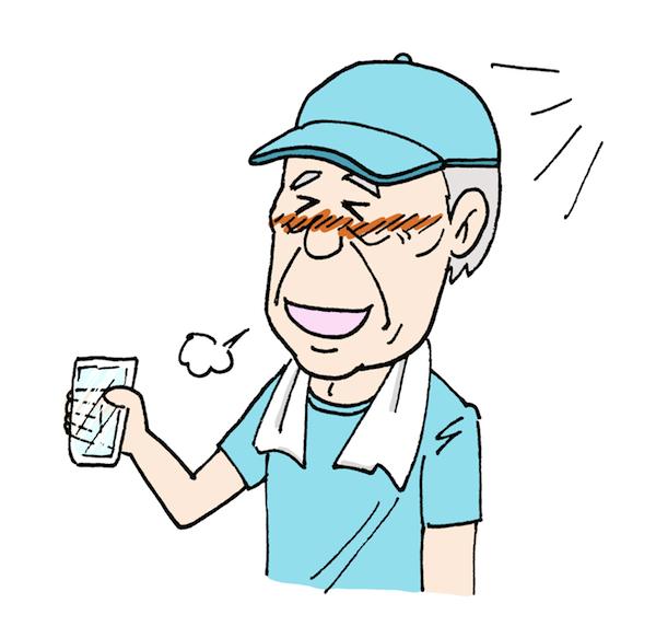 水を飲むおじいさん熱中症対策高齢者イラスト