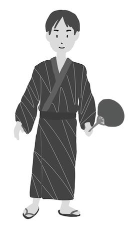 浴衣男性白黒