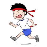 リレーで走る男の子イラスト