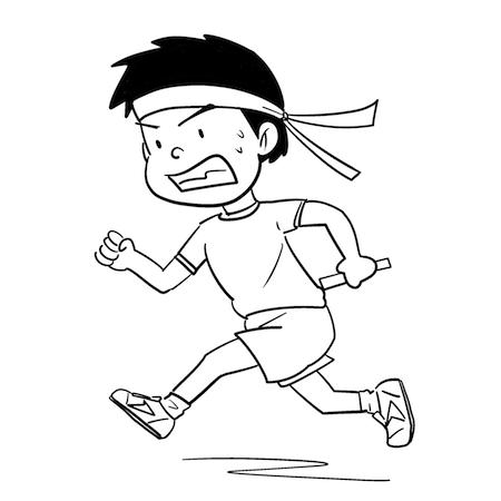 モノクロリレーで走る男の子イラスト
