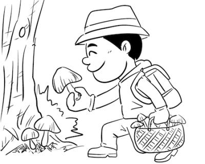 キノコ狩り線画イラスト