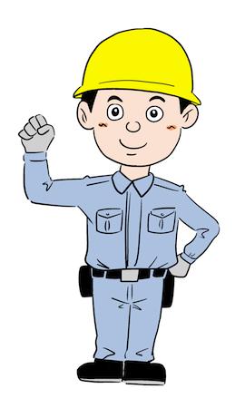 工場建設現場の作業員男性イラスト