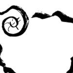 ひつじ羊墨絵イラスト